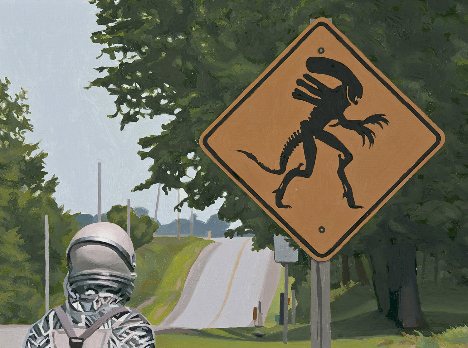 alien crossing, astronaut looking at street sign