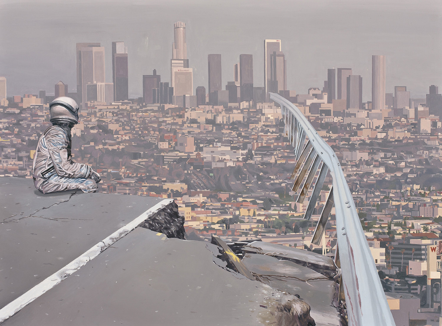 lost highway, astronaut overlooking the smoggy city, painting