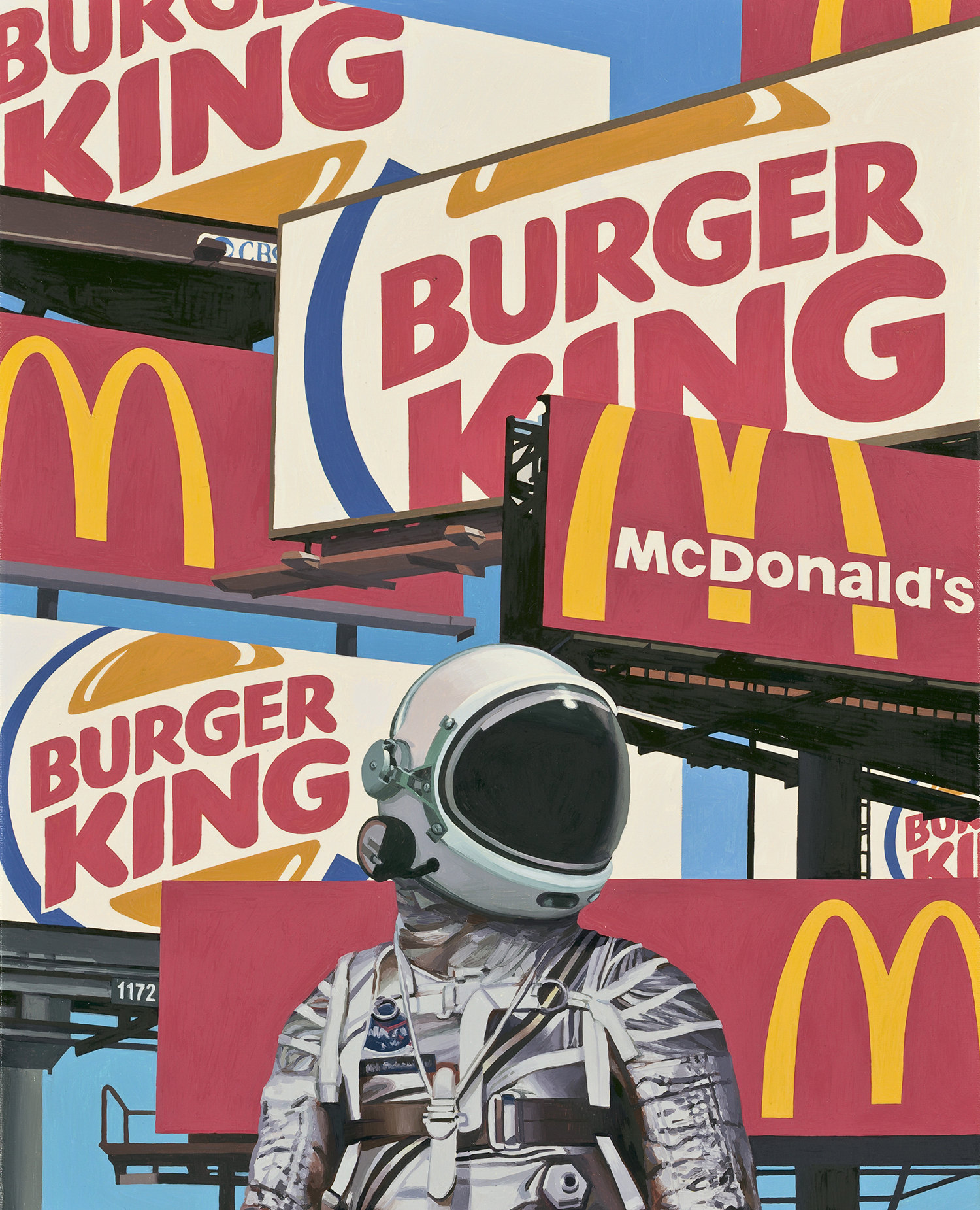 mc donalds vs burger king, painting by listfield