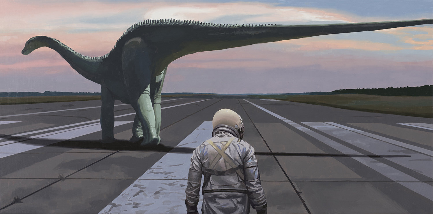 Diplodocus, dinosaur and astronaut on runway, painting