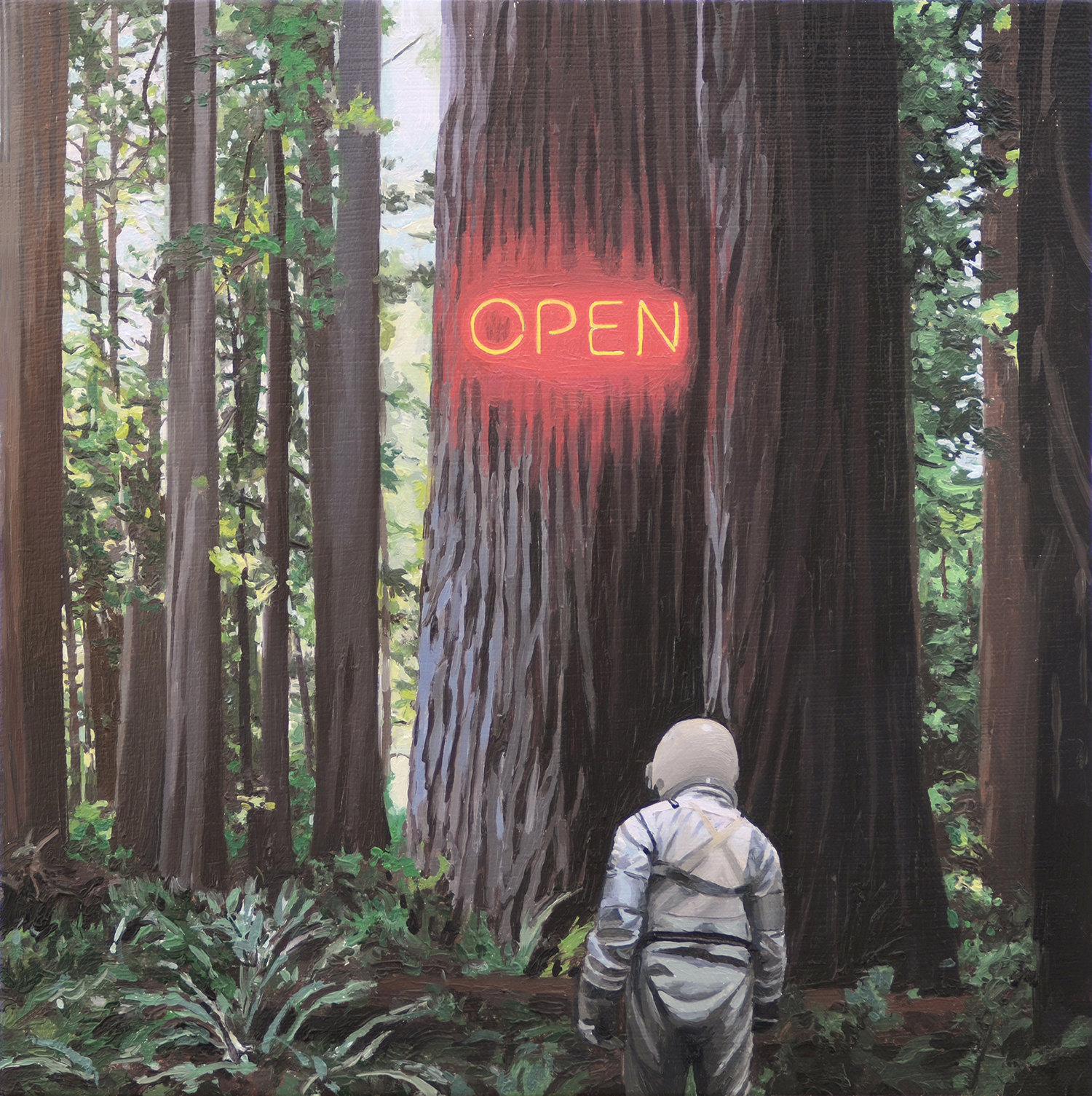 in the forest, open illuminated sign on tree, astronaut