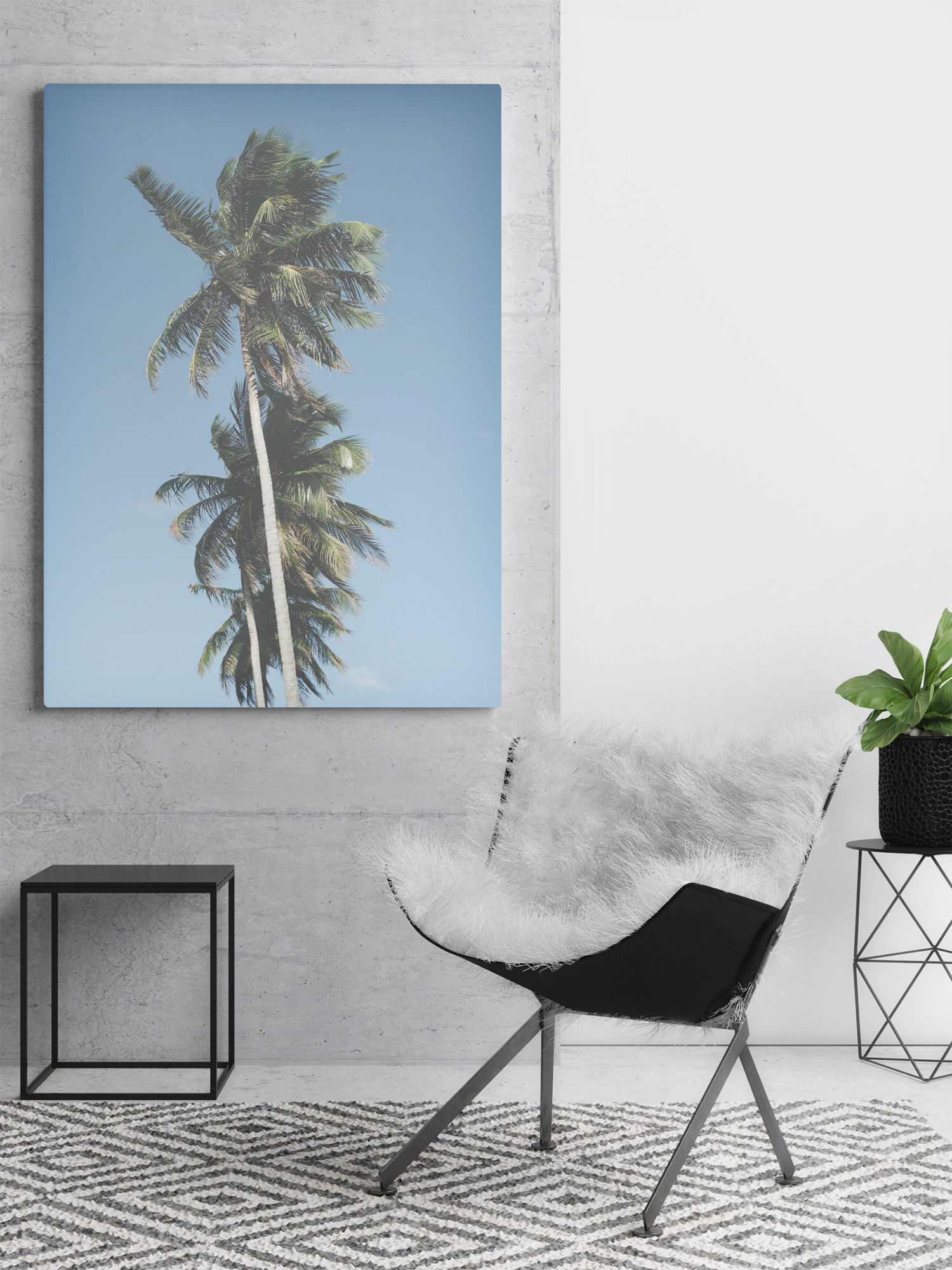 palm trees on canvas print, modern decor