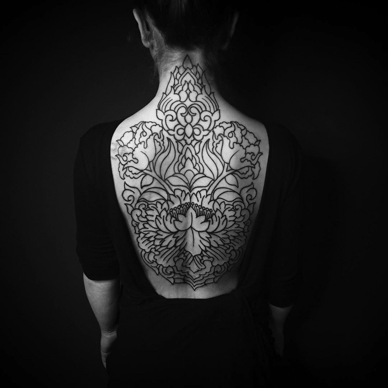 Ellemental Tattoos - ornamental back tattoo