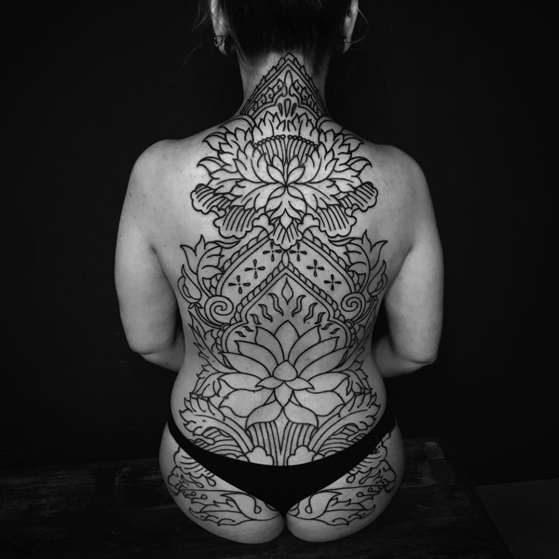 Ellemental Tattoos - ornamental blackwork tattoo, linework, full back tattoo