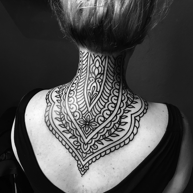 Ellemental Tattoos - back of neck tattoo
