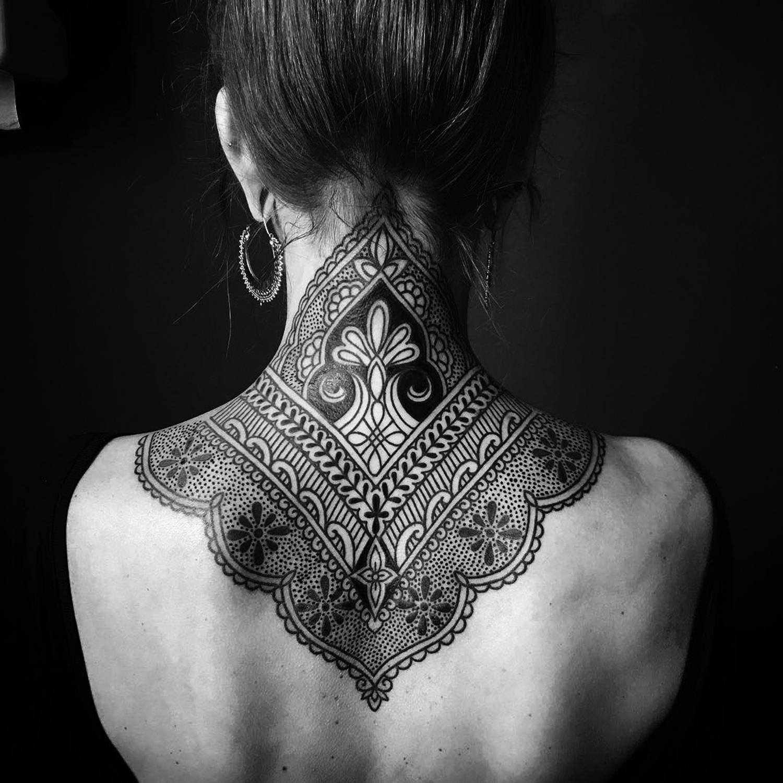 Ellemental Tattoos - beautiful back of neck tattoo, ornamental tattoo, blackwork