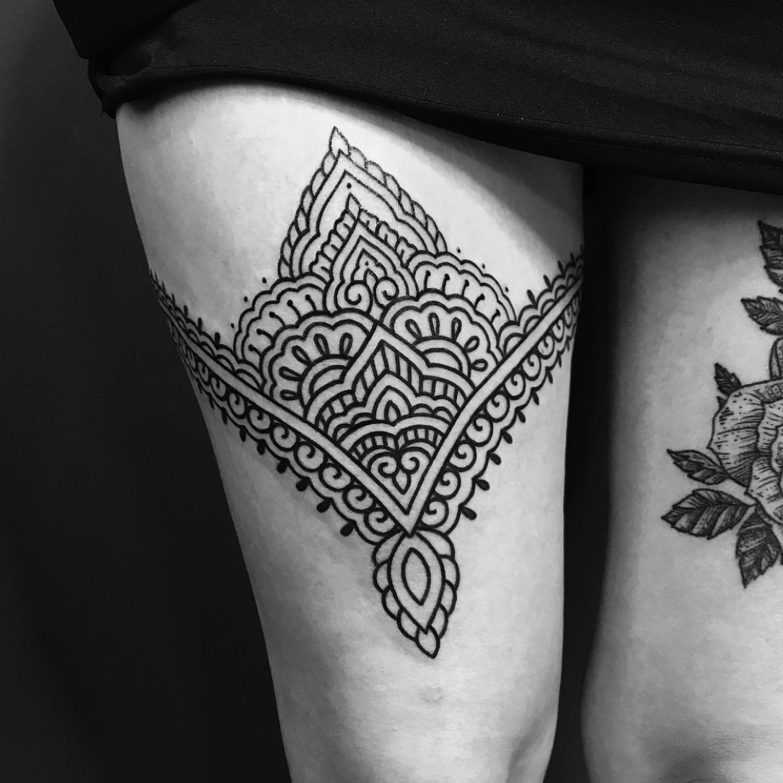 Ellemental Tattoos - upper thigh tattoo