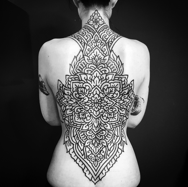 Ellemental Tattoos - ornamental full back tattoo