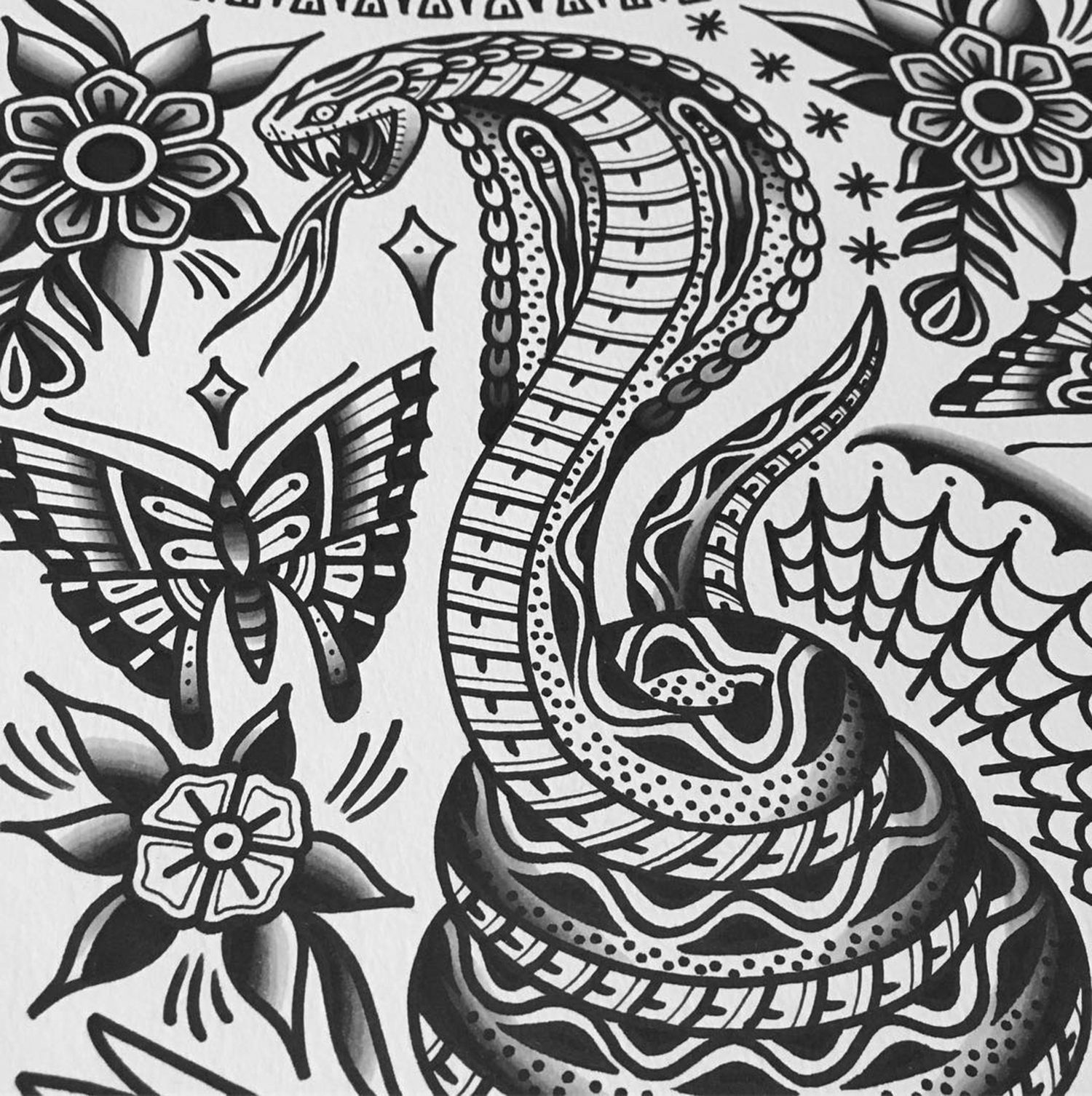 flash art, snake, traditional tattoo