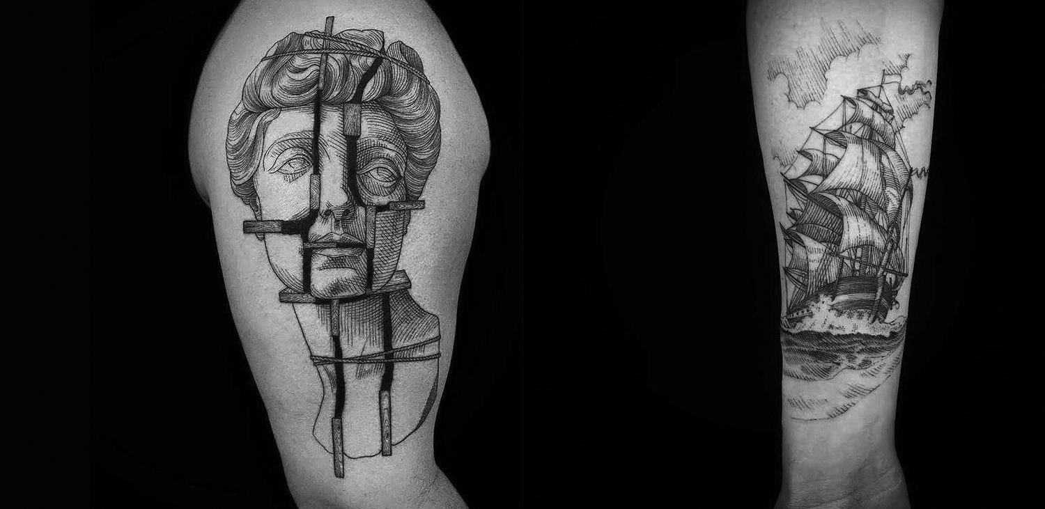 Etching style tattoo by Marco Matarese