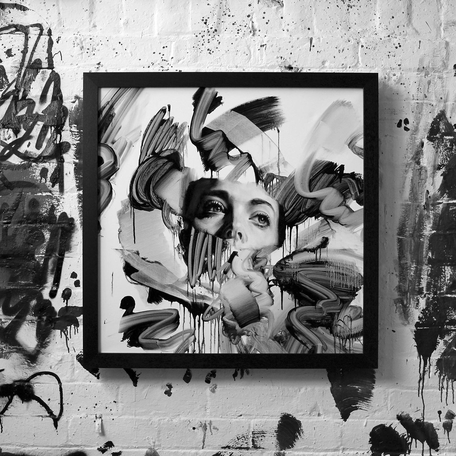 black and white painting by tom french