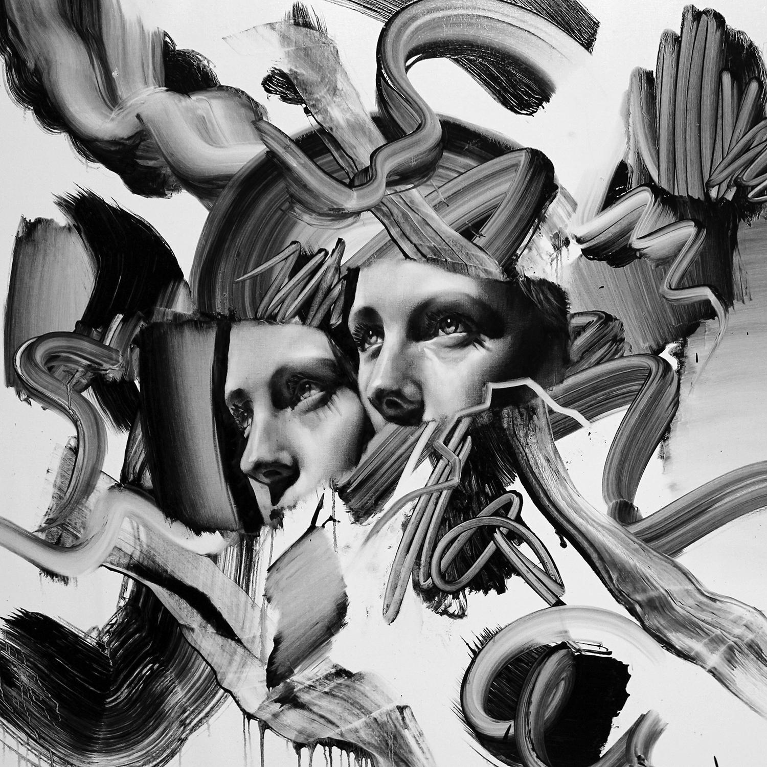 Parallax, painting, double face, black and white art