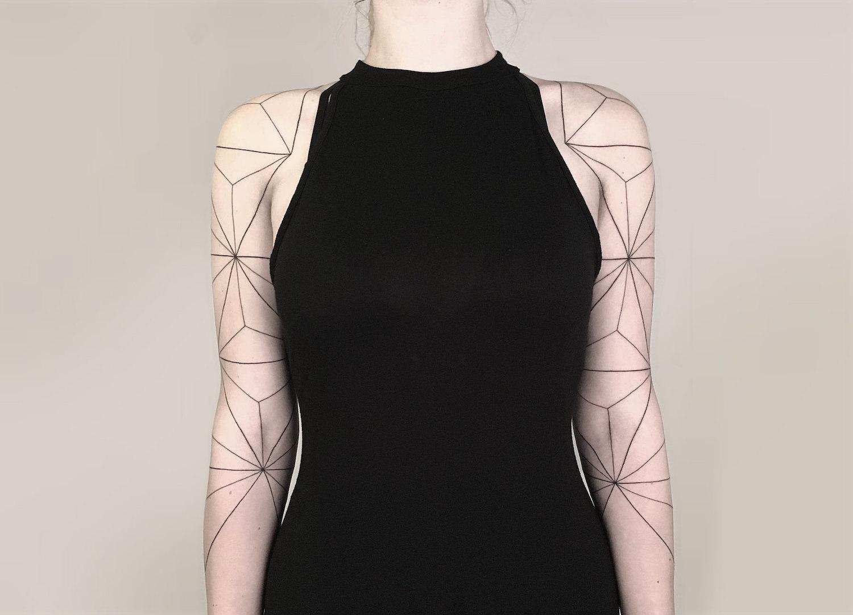Linear half sleeve tattoos by Yashka