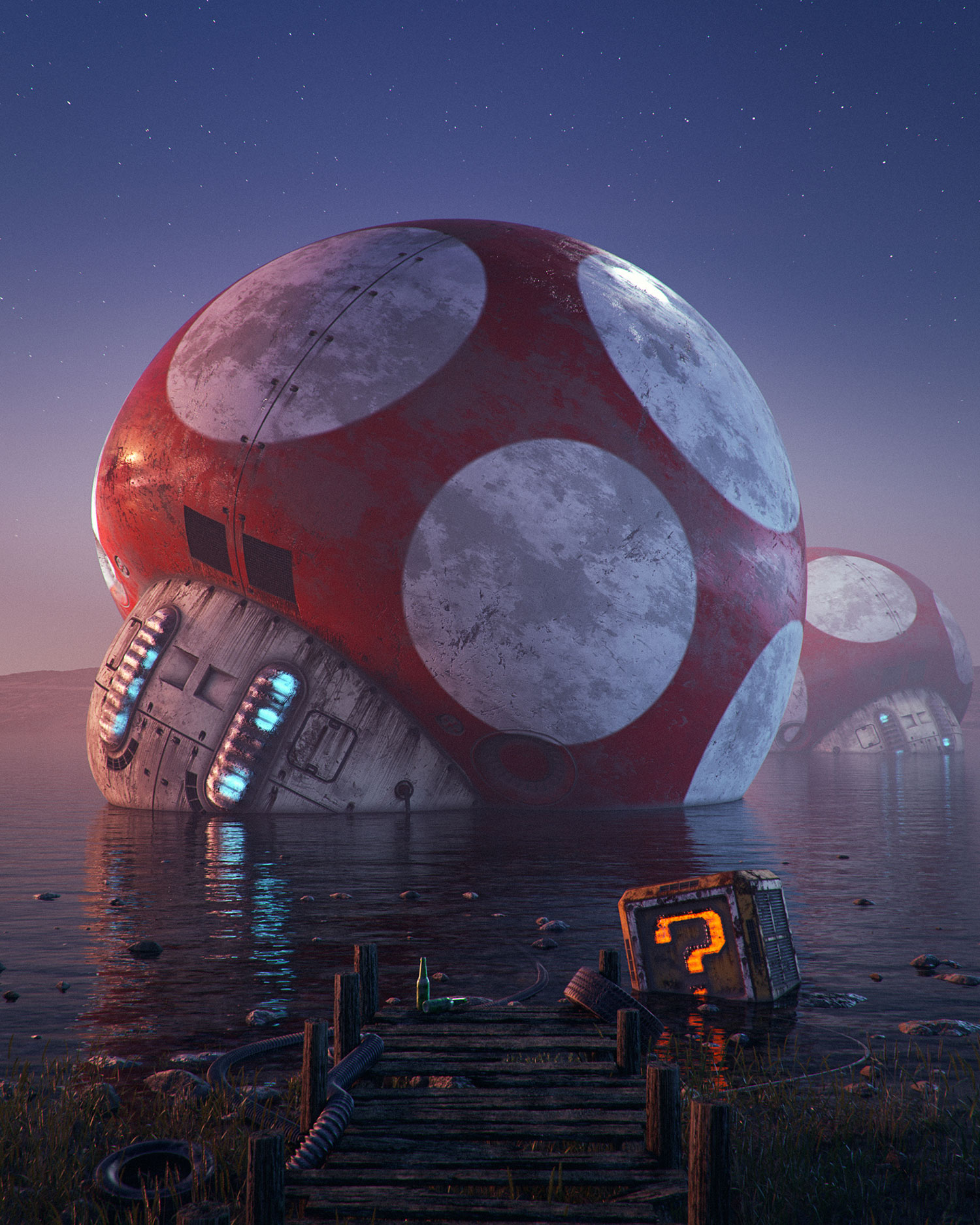 Filip Hodas - Pop culture dystopia, mushroom kingdom, Mario