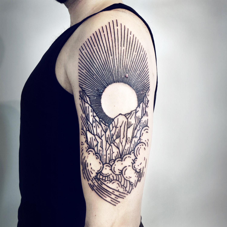 Lisa Orth tattoo - Adam, elemental landscape