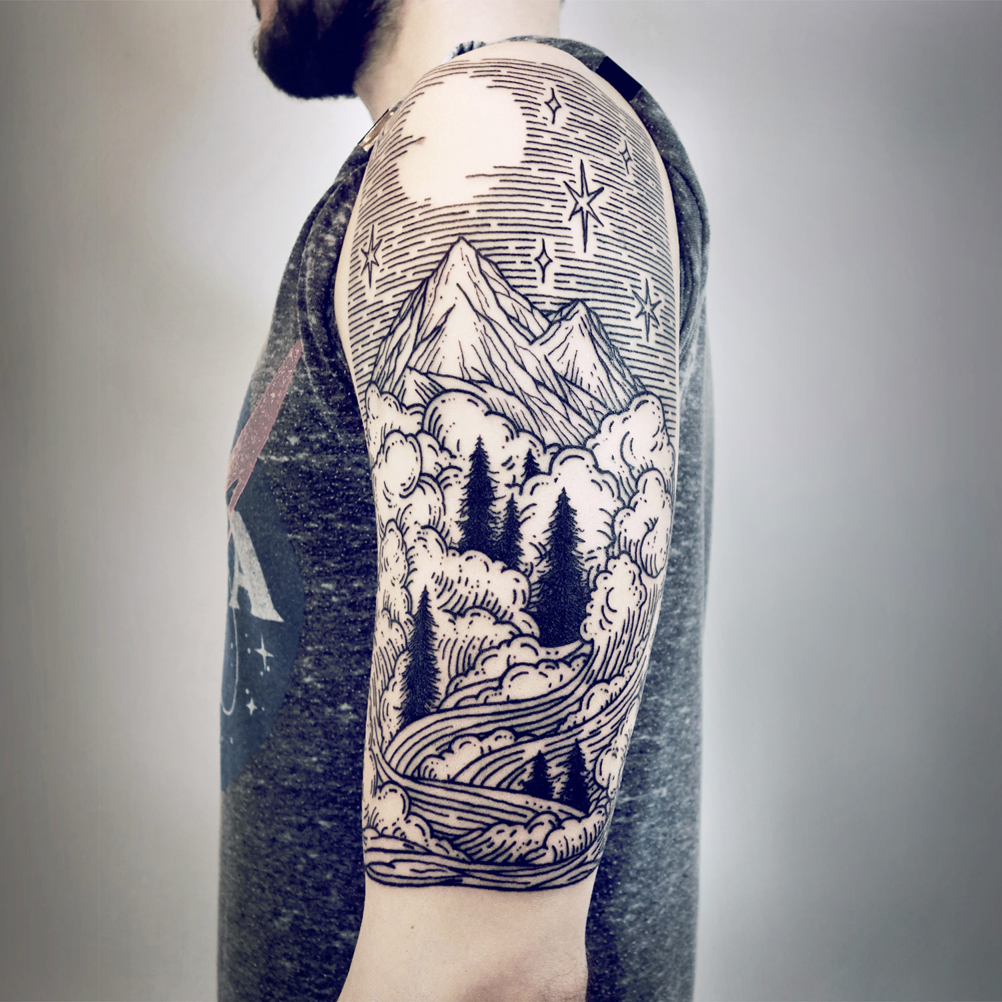 Imaginative Half-Sleeve Landscape Tattoos by Lisa Orth