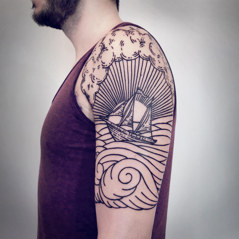 Lisa Orth, tattoo - Korey, waves & ship