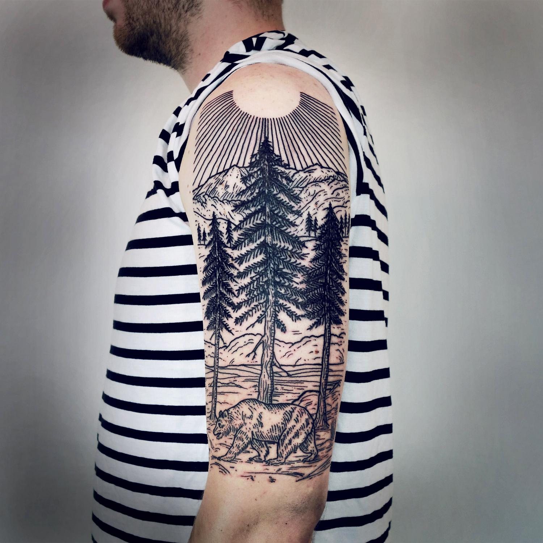 Lisa Orth, tattoo - Ray, redwoods & bear