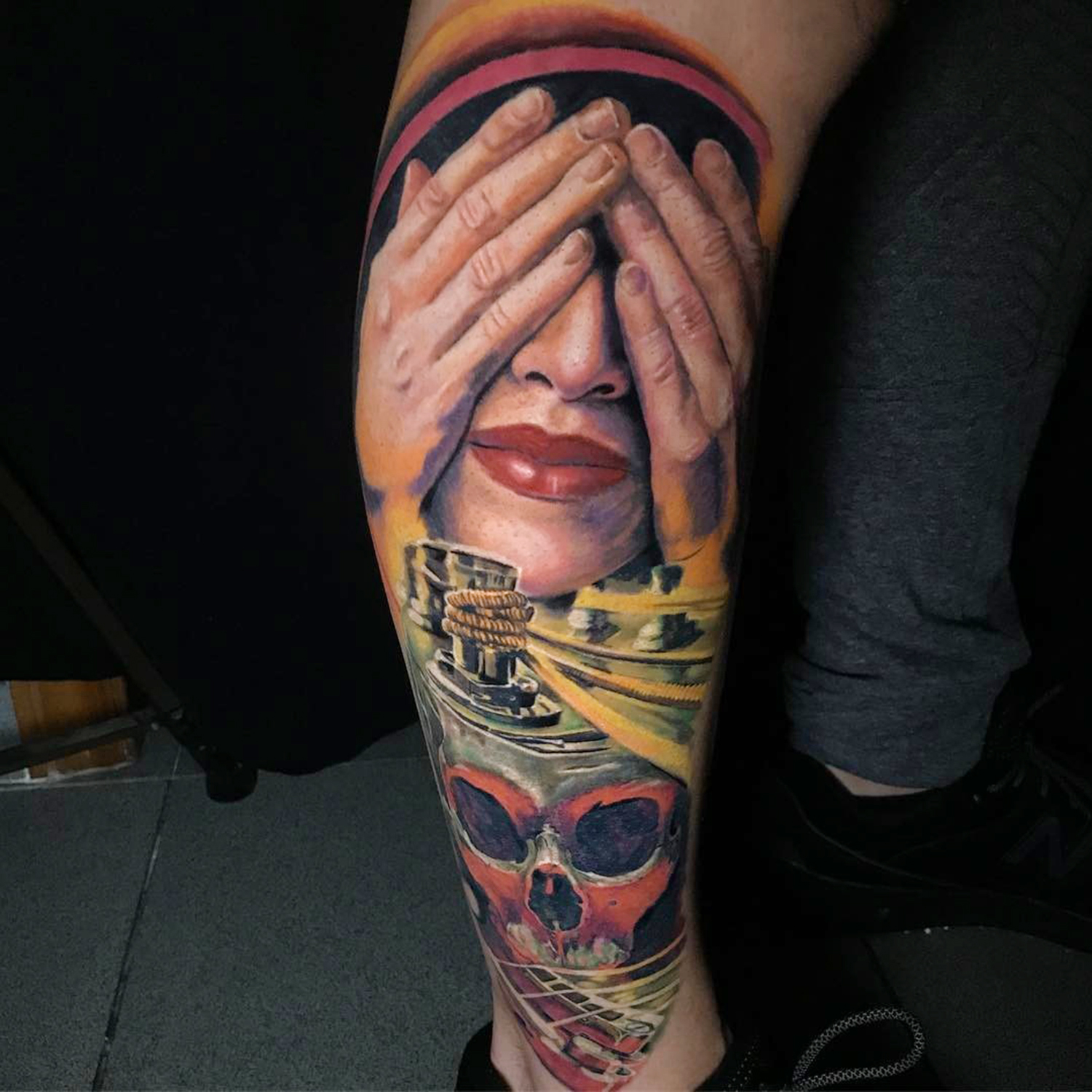 hiding face, portrait tattoo