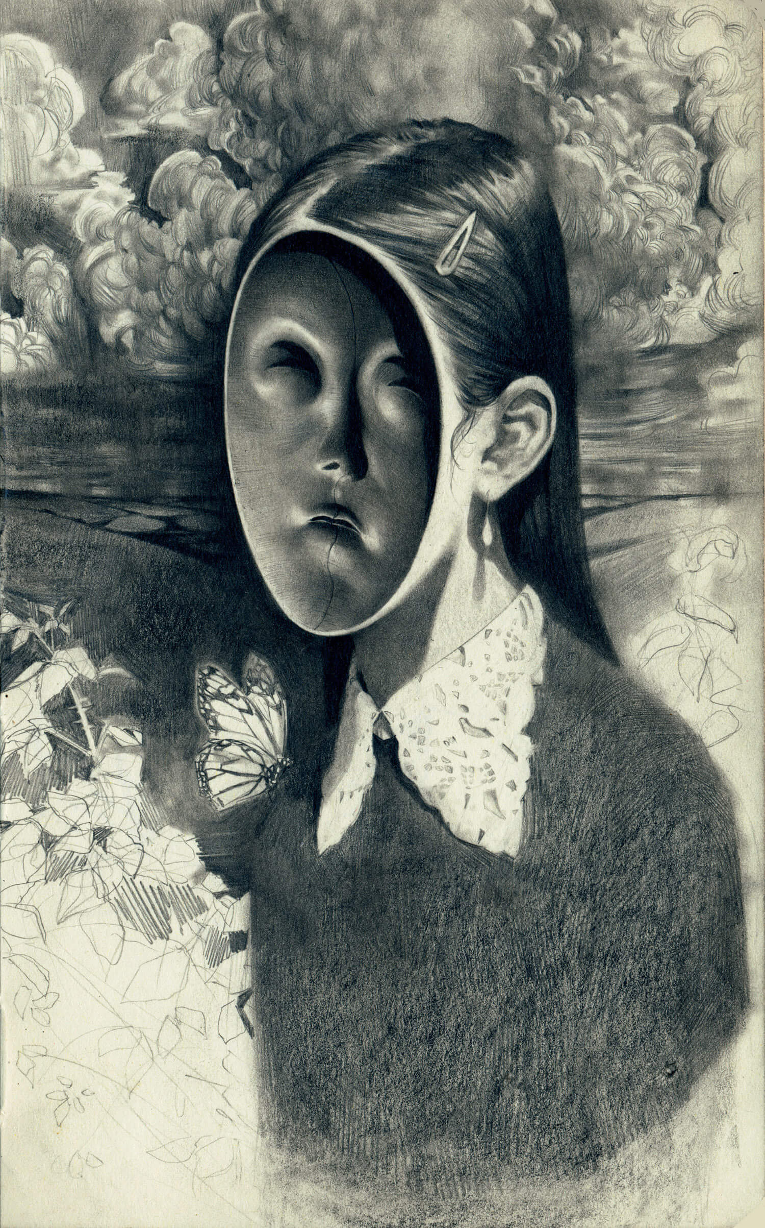 graphite drawing of a girl with face off