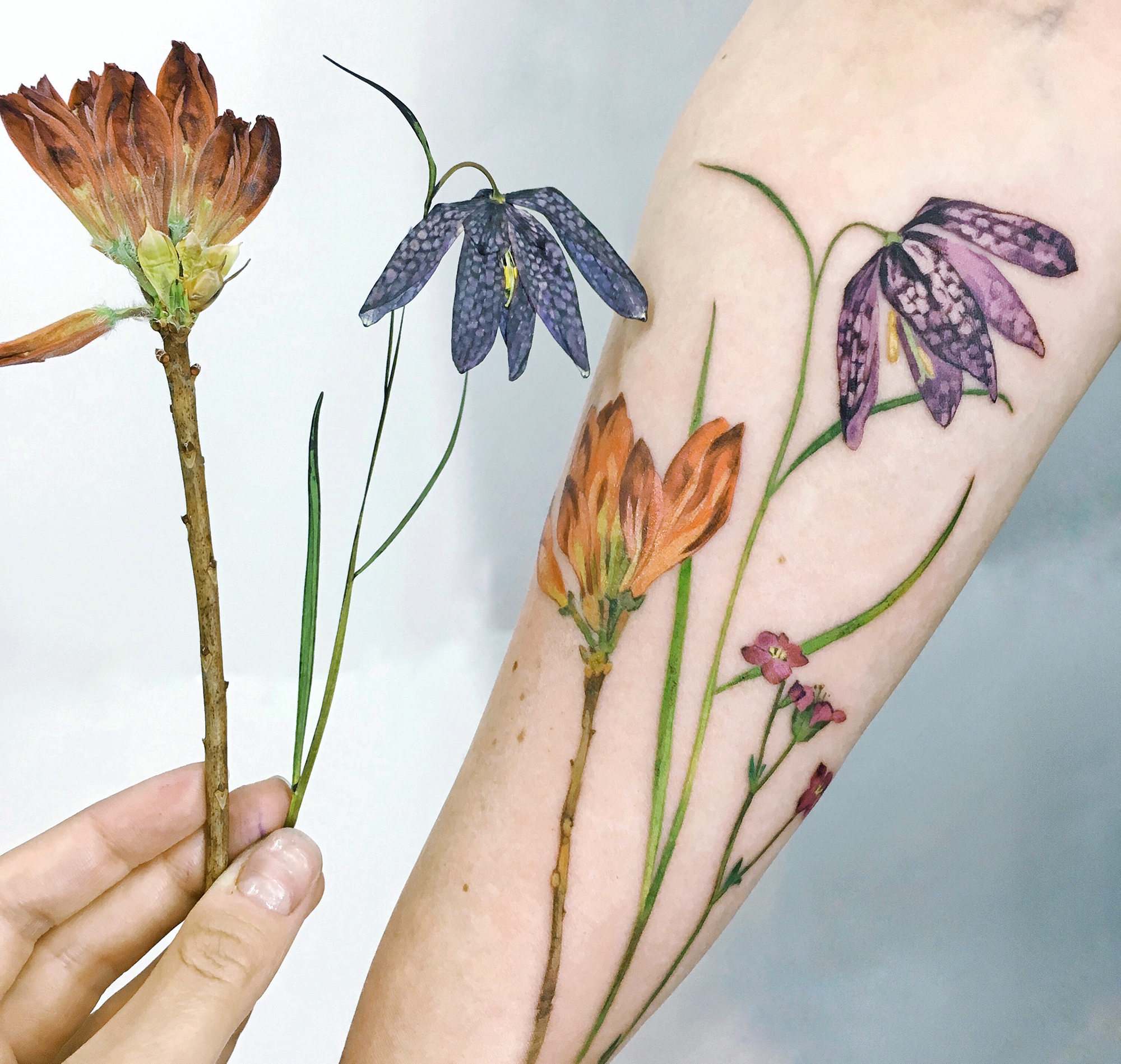 dried flowers, live leaf tattoo by rit kit