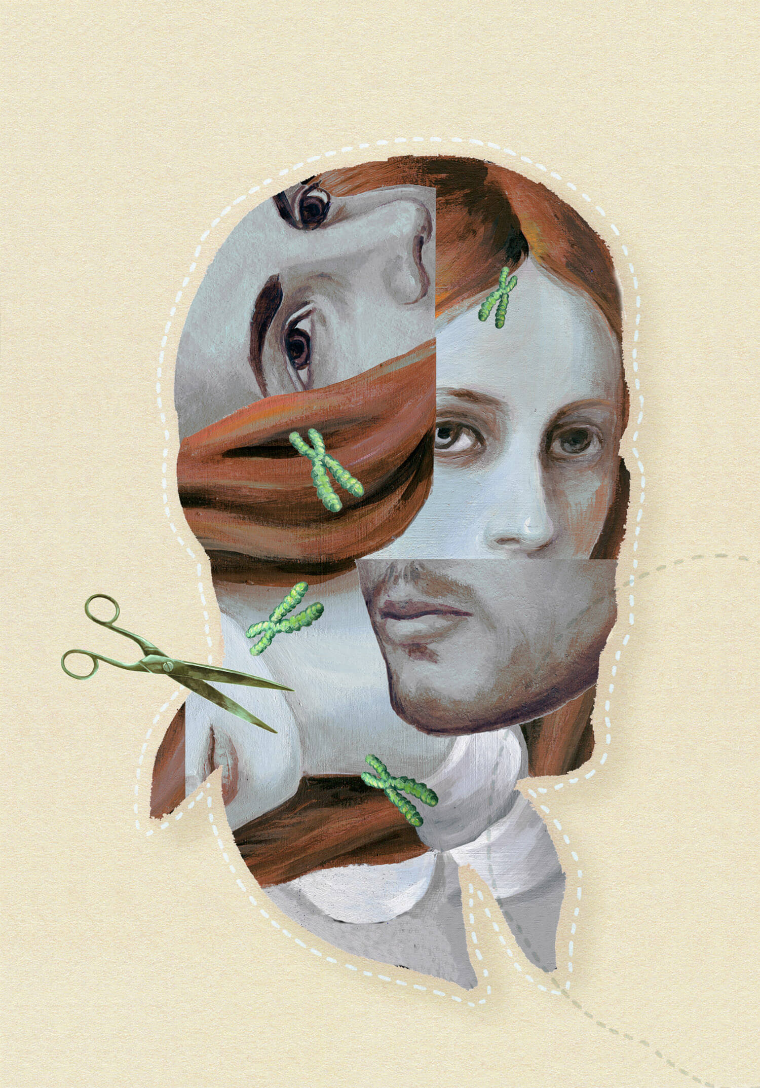 double exposure style painted portrait