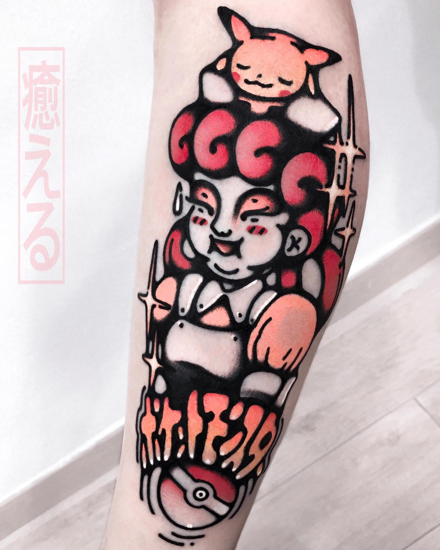 Pokemon tattoo on leg