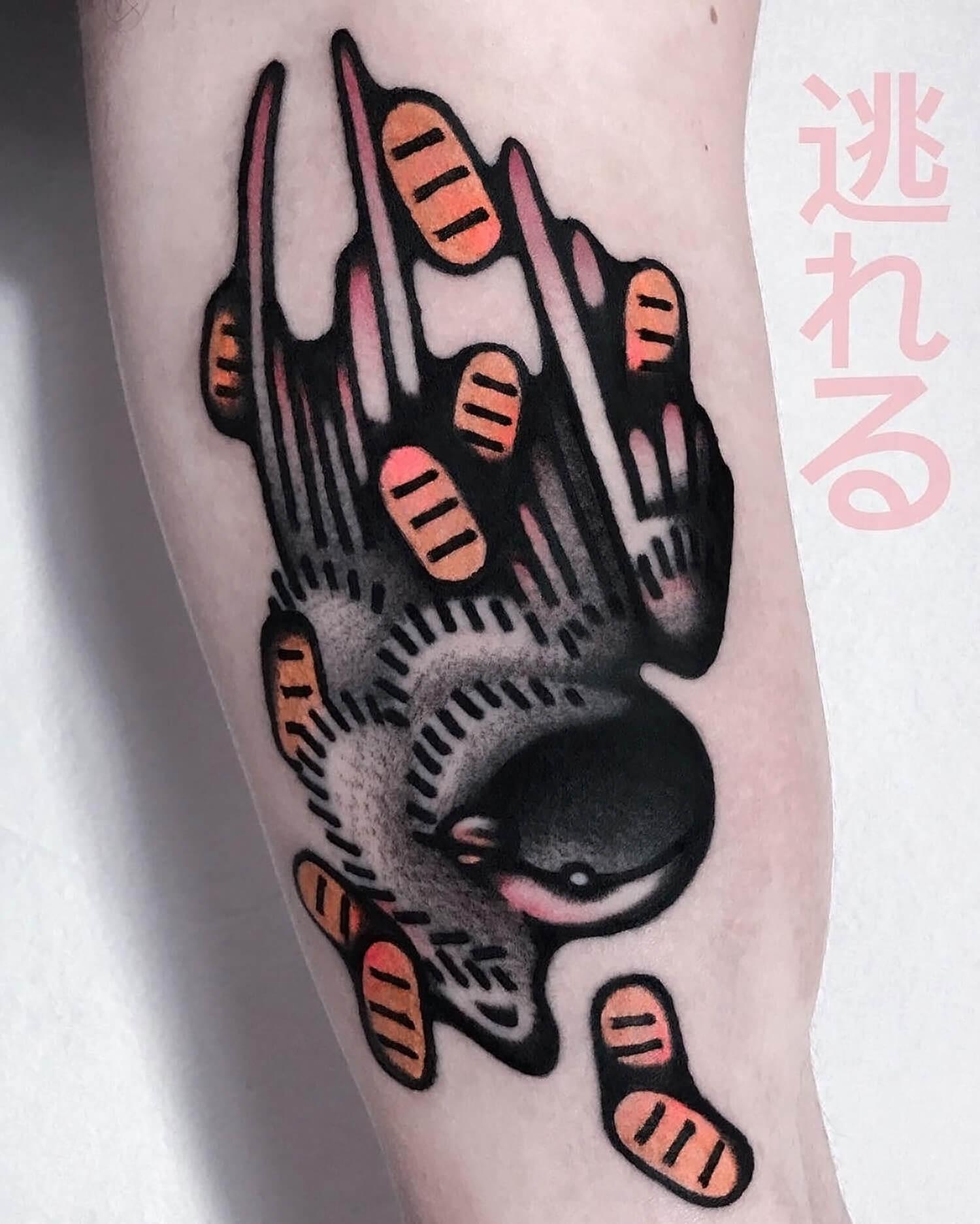 Bird tattoo on art