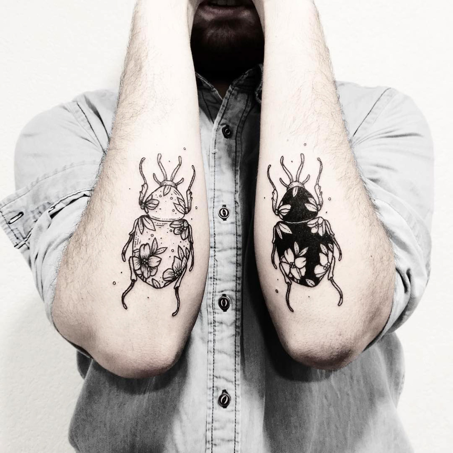 Beetles on arms