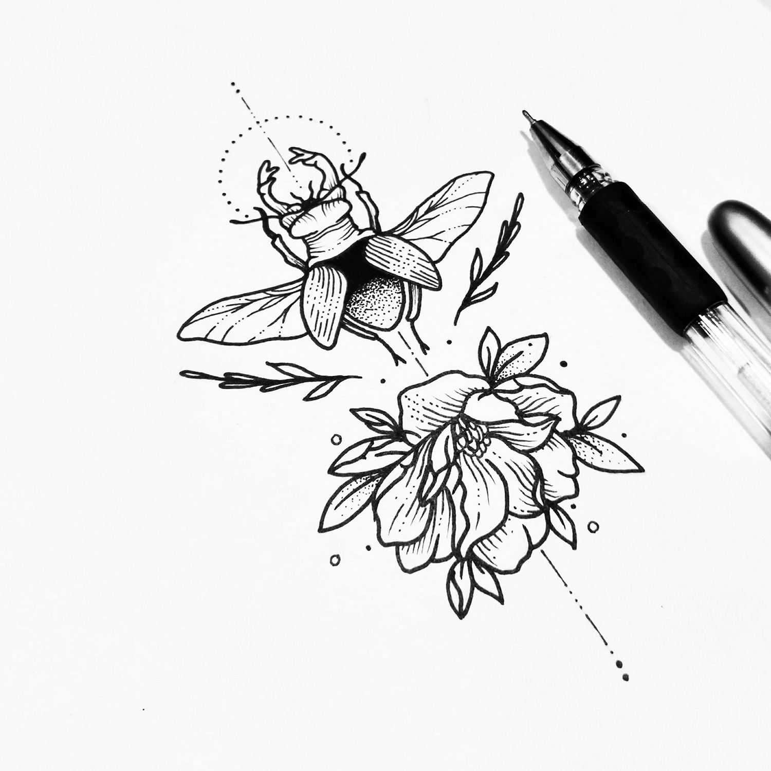flower and insect drawing, black pen