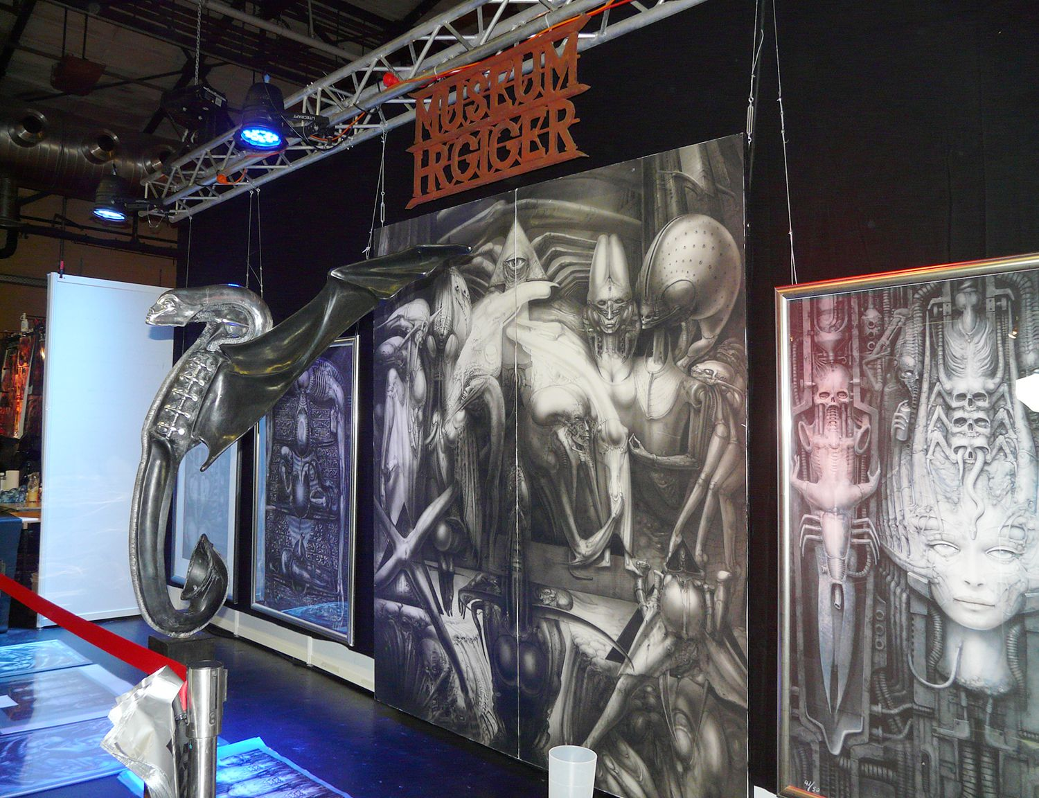 giger posters displayed at the berlin tattoo convention