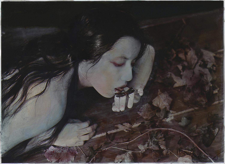 Katie Eleanor - life/blood remedy, creepy woman lying down