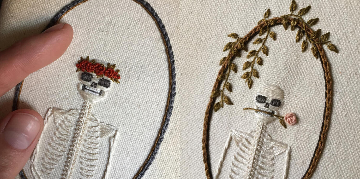 stitched skeleton portraits