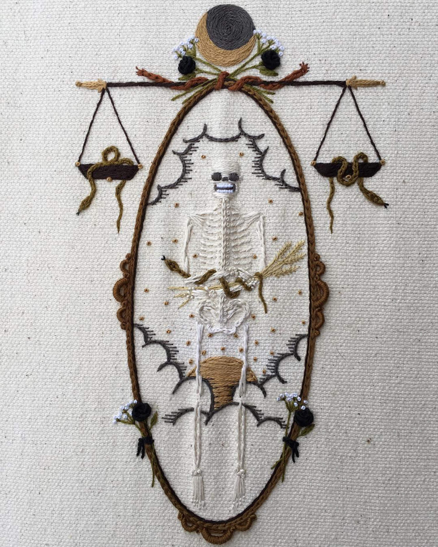 stitched skeleton portrait surrounded by scales