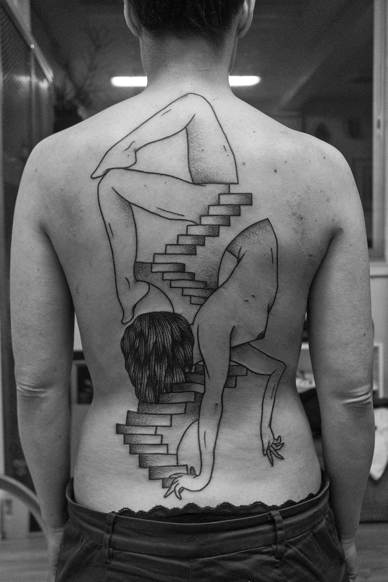 Figure split by stairs by Trobbie