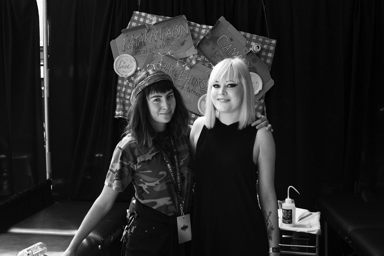 Art Tattoo Montreal Show - Artist Katakankabin and Scene360 Assistant Editor, Hayley Evans
