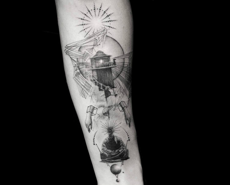 Fine line lighthouse tattoo by Balazs Bercsenyi of Bang Bang New York