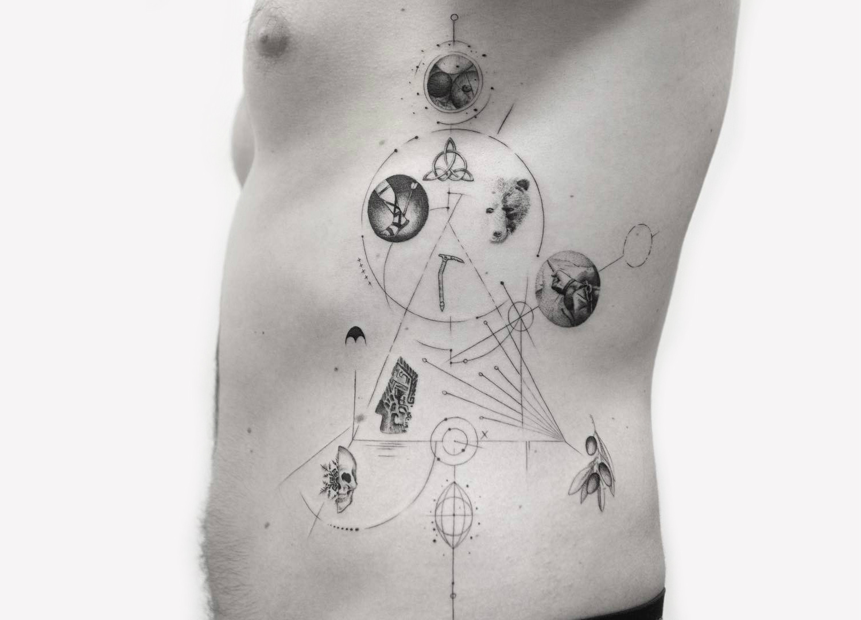 Series of single needle memories tattoo by Balazs Bercsenyi