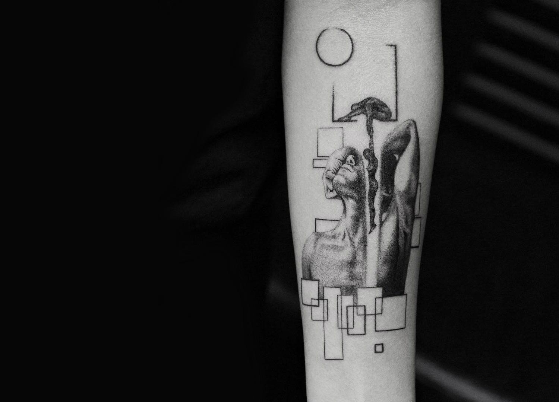 Figure drawings tattoo by Balazs Bercsenyi of Bang Bang Tattoos New York