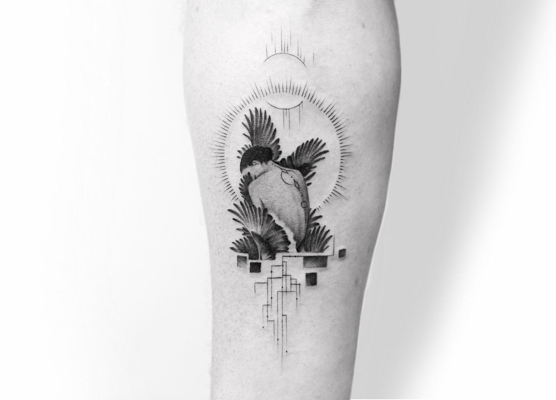 Winged woman tattoo by Balazs Bercsenyi of Bang Bang Tattoos New York