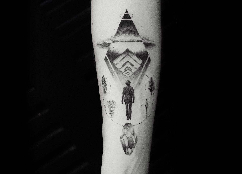Earth elements fine line tattoo by Balazs Bercsenyi of Bang Bang Tattoos New York