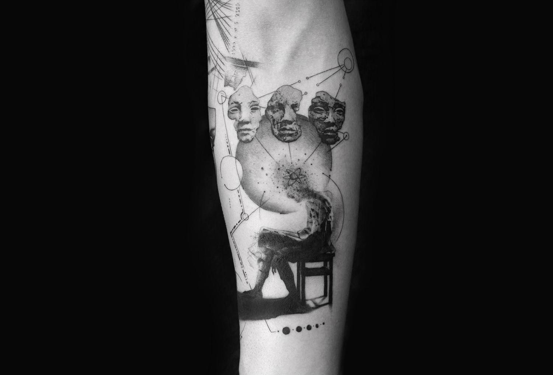 Surreal identity tattoo by Balazs Bercsenyi of Bang Bang Tattoos New York