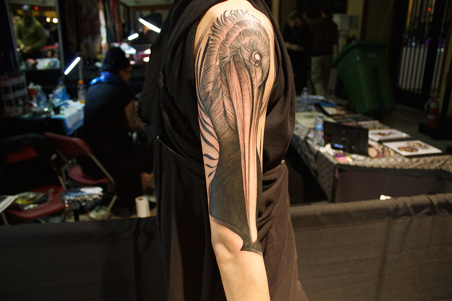 Frank Carrilho, Art Tattoo Montreal Show - finished piece, pelican