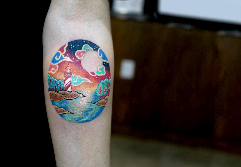 Tiny lighthouse tattoo by Pitta KKM