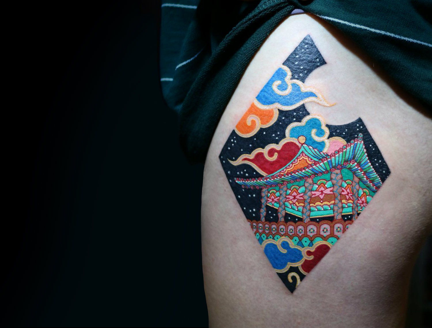 Neon Japanese temple tattoo by Pitta KKM