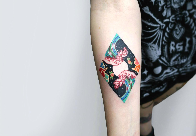 Modern Japanese hokusai wave tattoo by Pitta KKM
