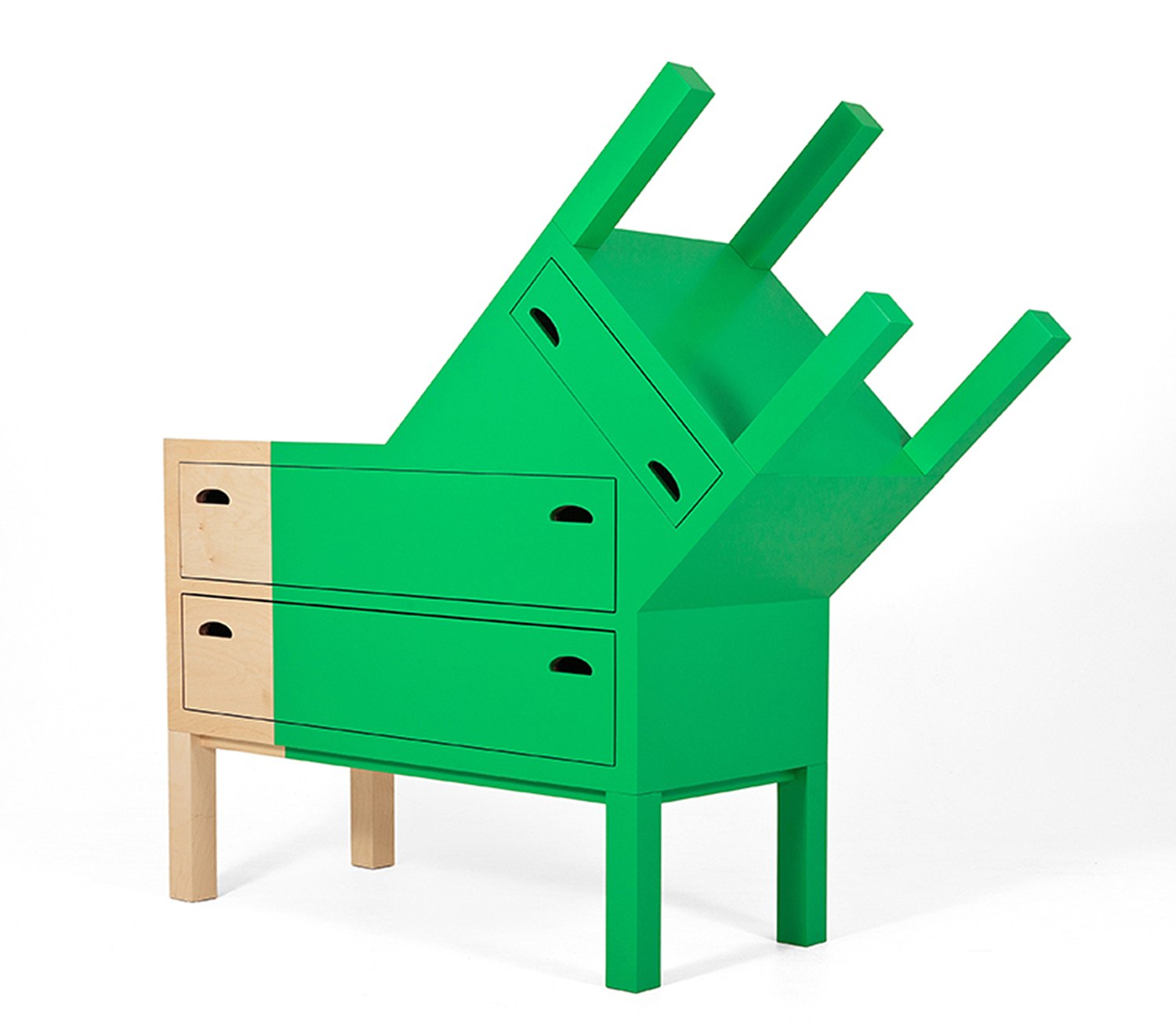 Double face chest of drawers, green