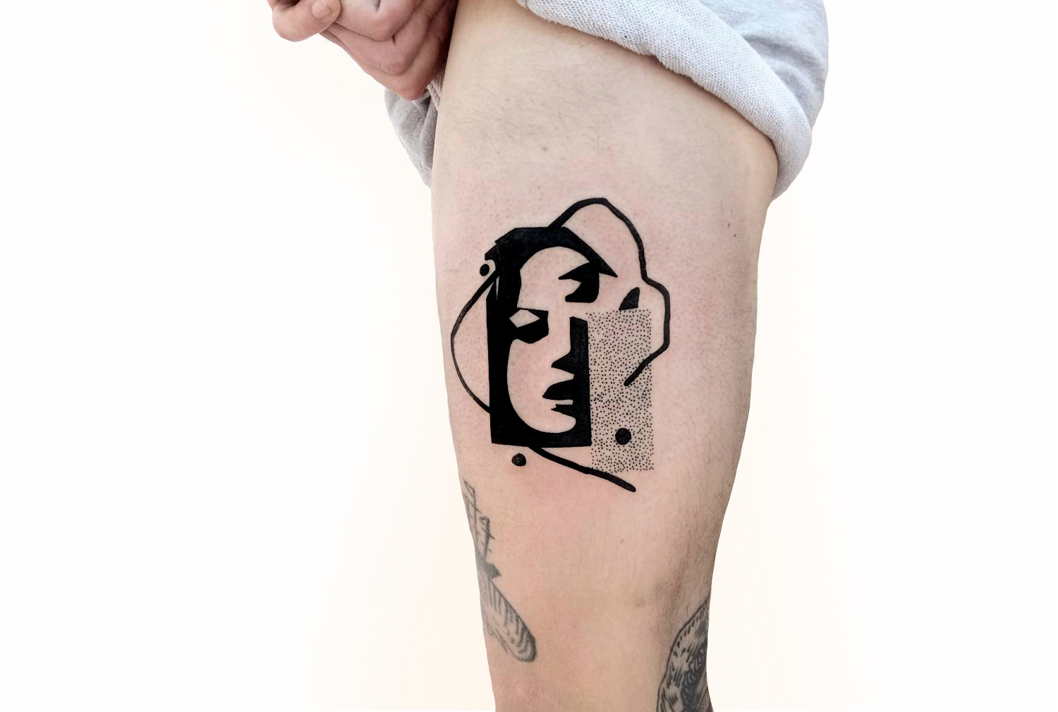 Pop art silhouette portrait tattoo by Andrey Volkov