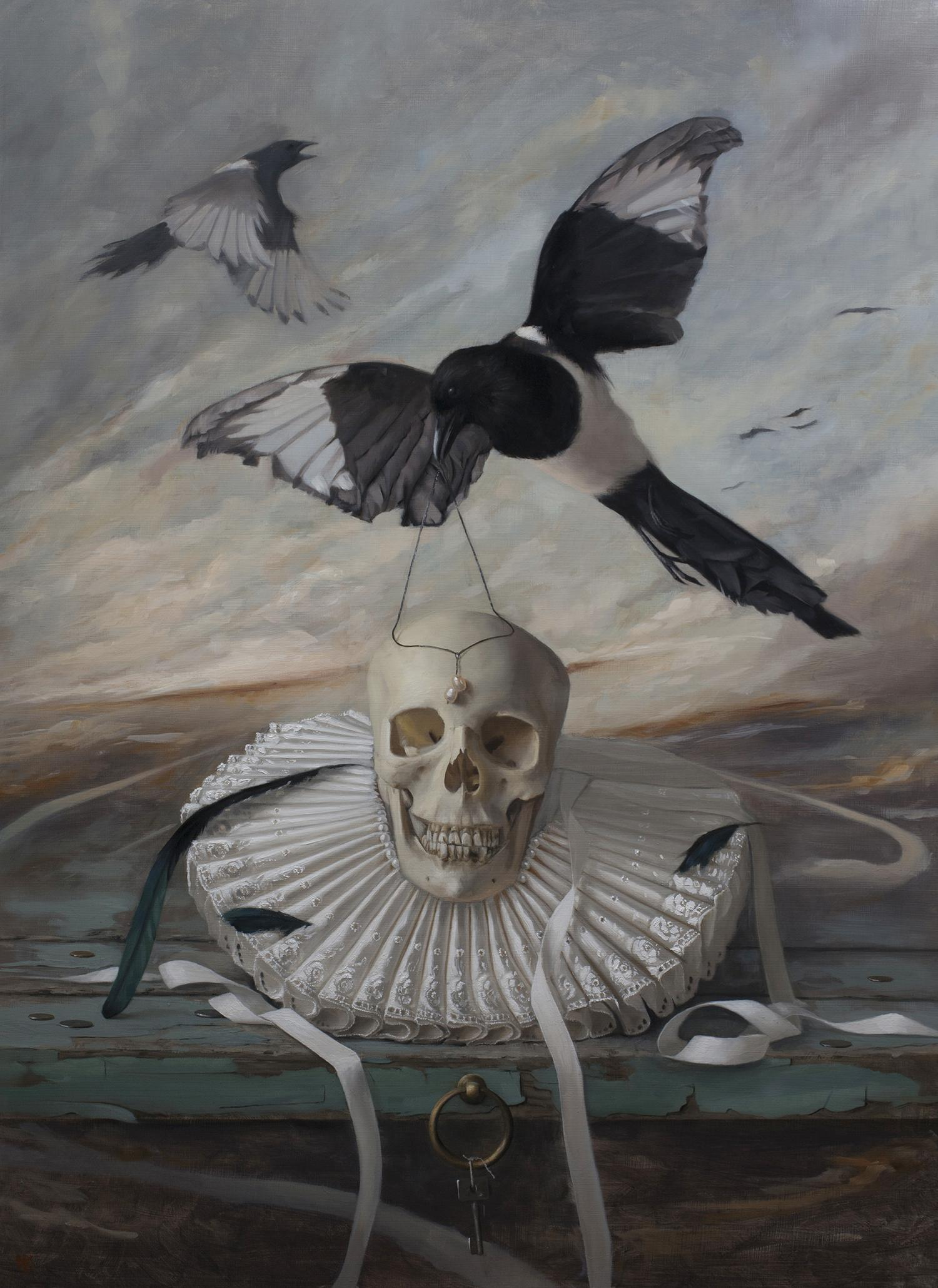 adornment, oil painting by david gluck, fine art, still life, bird and human skull