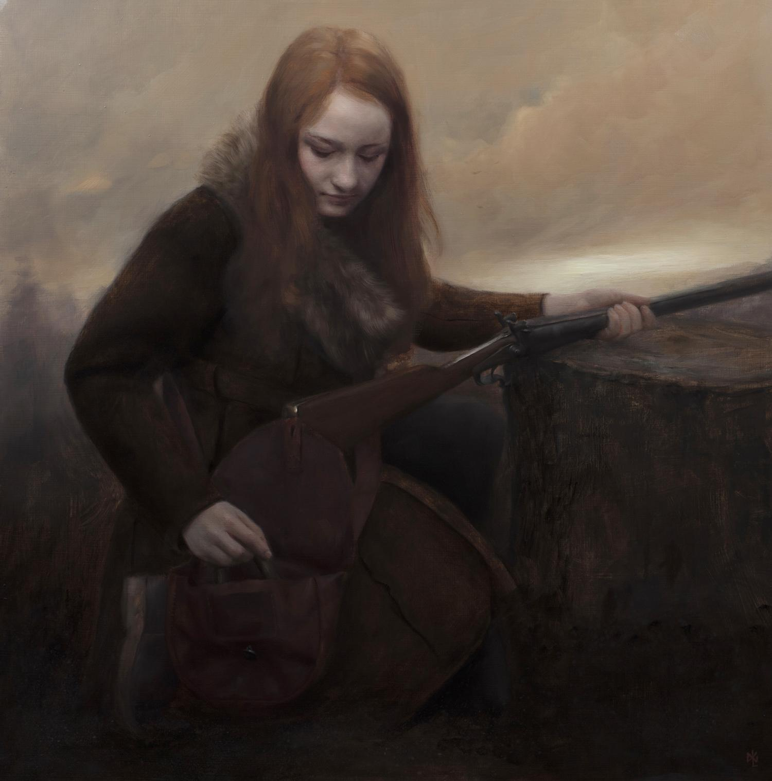 Dusk, painting by david gluck, girl with rifle